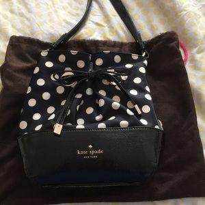 Kate Spade Black and White Crossbody Bucket Bag